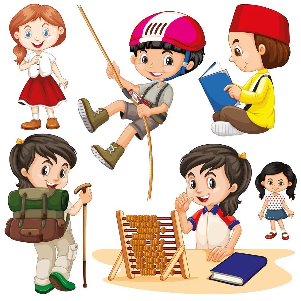 garçons et filles dans diverses activités vecteur