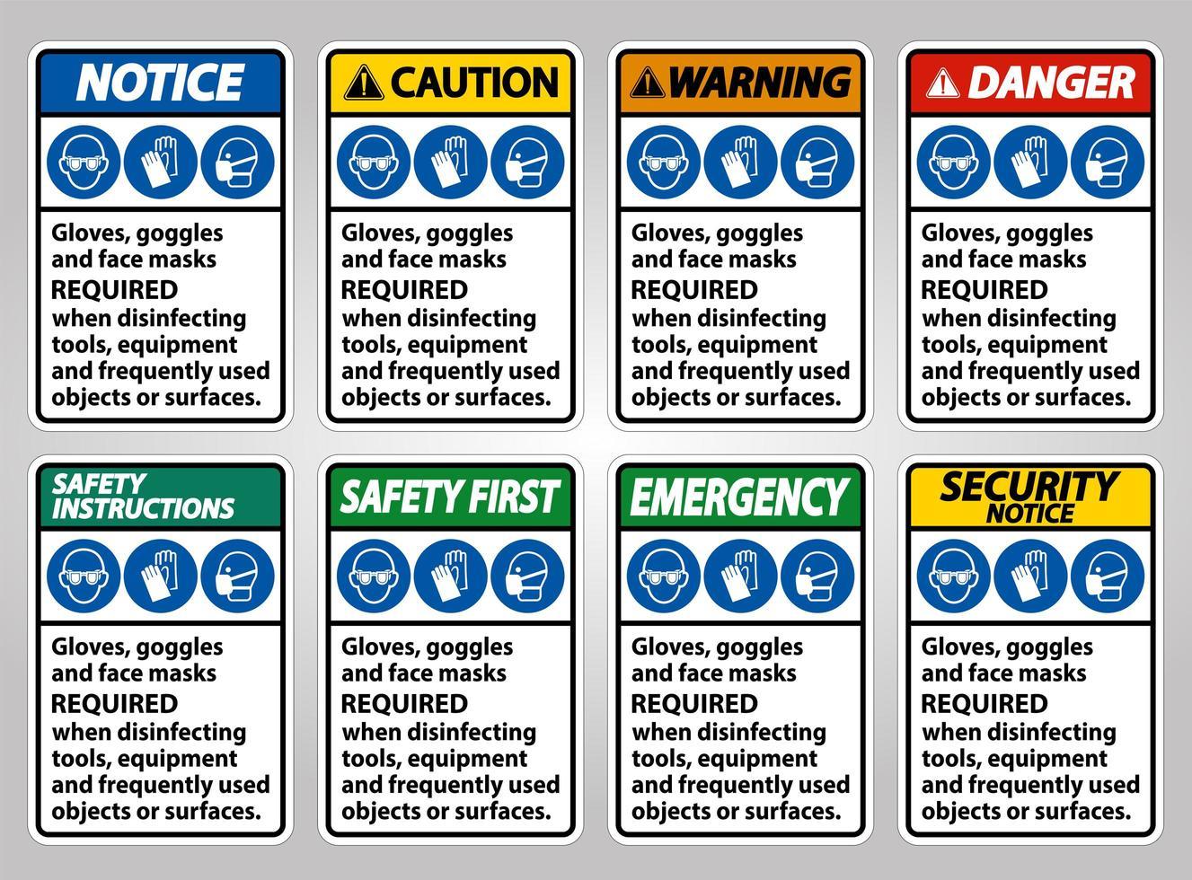 équipement de protection requis collection de panneaux vecteur