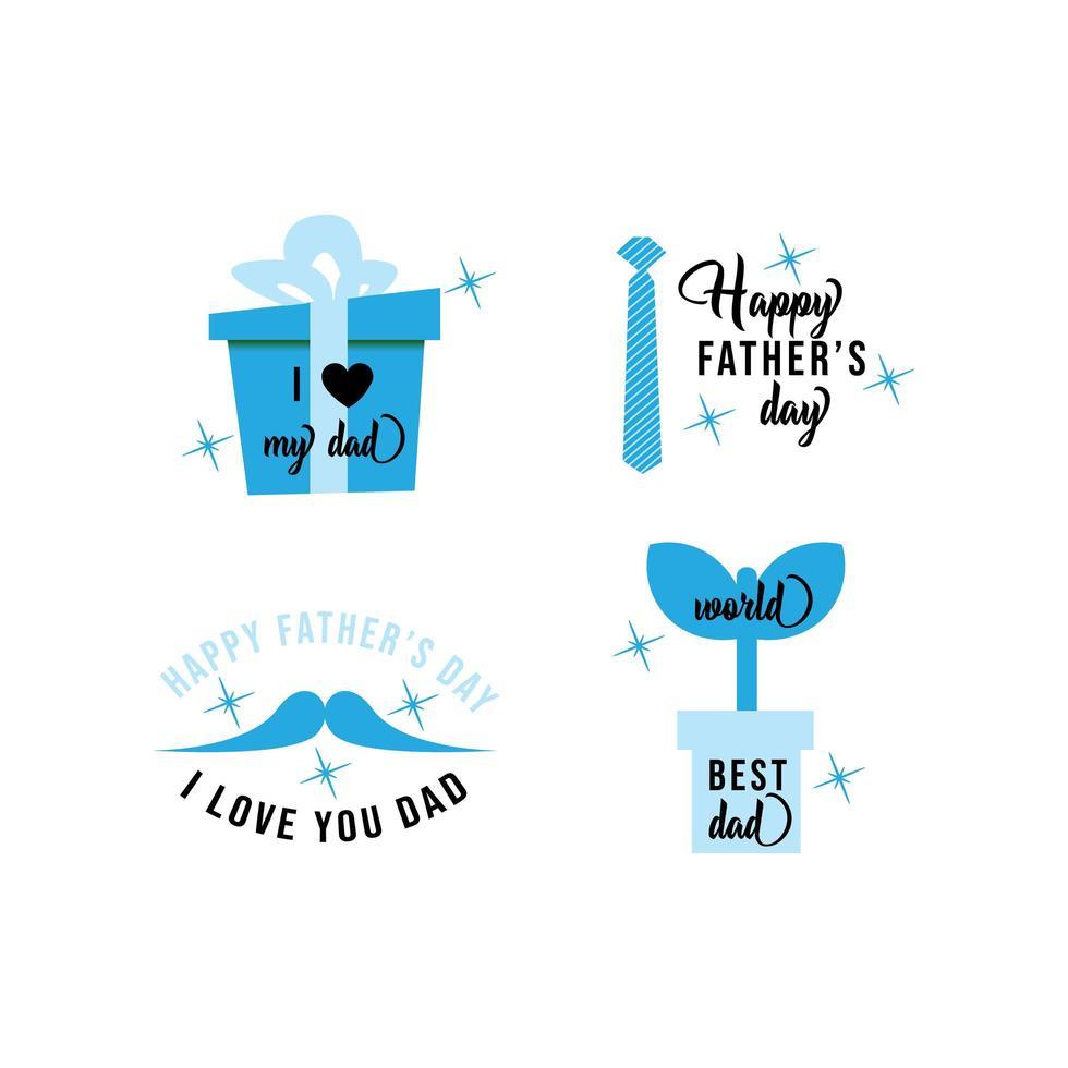 jeu d'étiquettes bleu heureux fête des pères vecteur