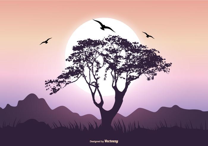 Scène de paysage avec baobab vecteur