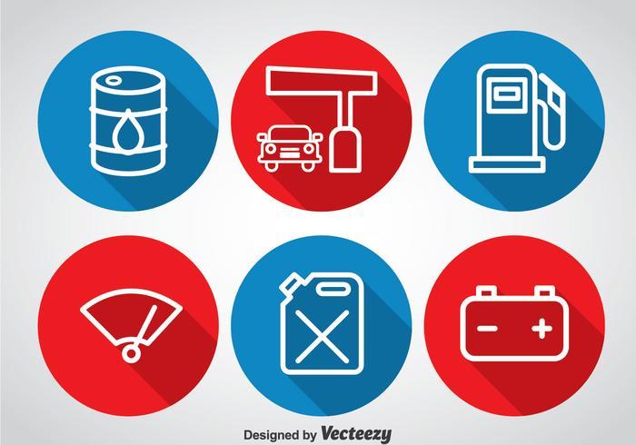 Icônes de cercle de pompe à gaz vecteur