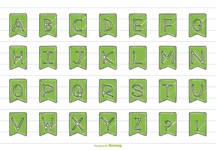 Ensemble d'alphabet de style mignon dessiné à la main vecteur