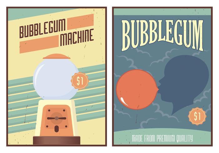 Affiche de gomme à bulles vecteur