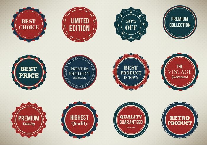 Ensemble de badges vectoriels gratuits vecteur