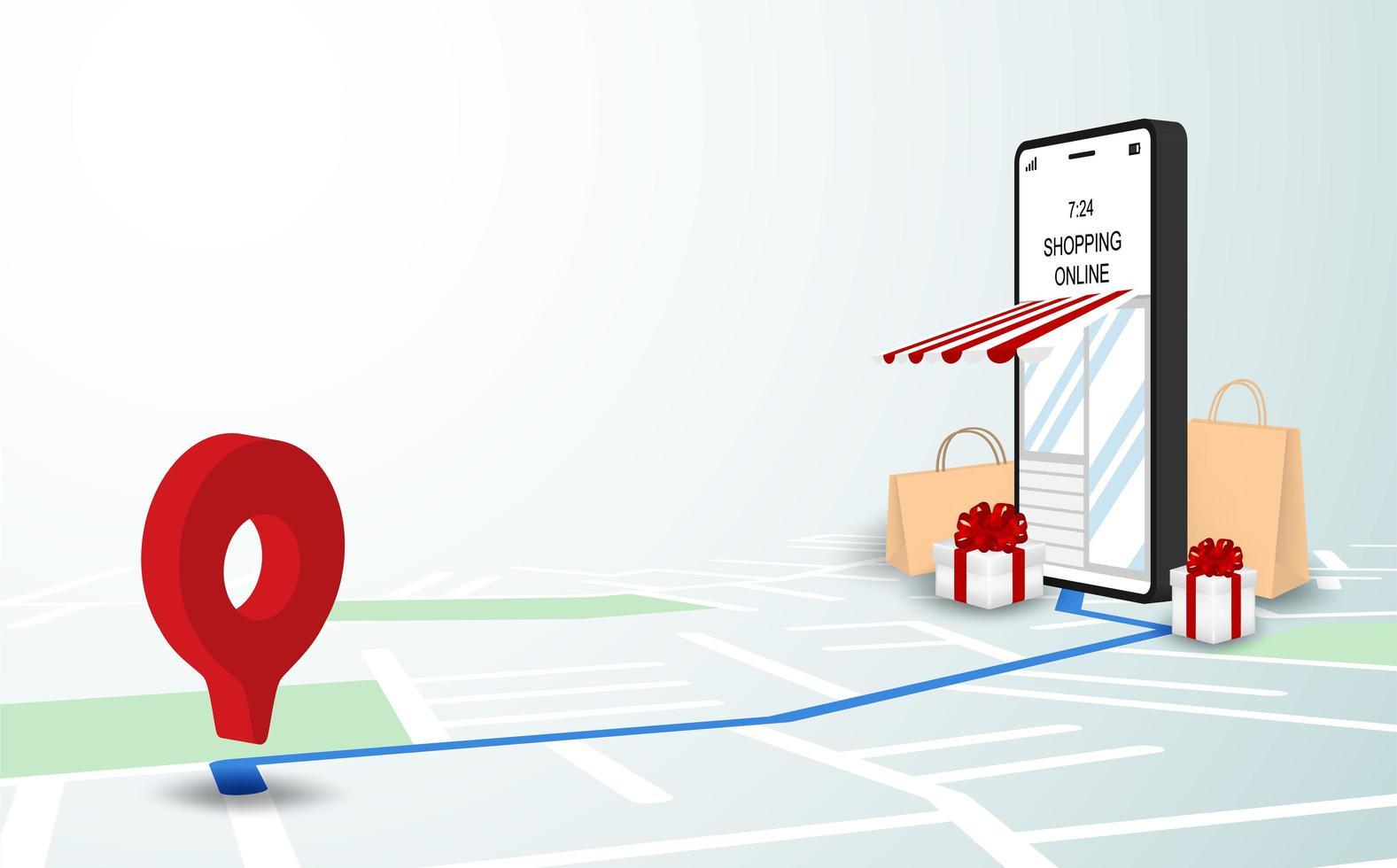 boutique livraison en ligne sur carte vecteur