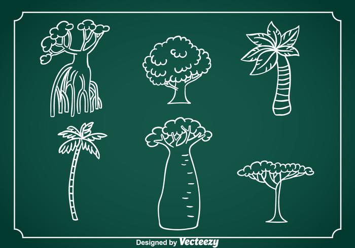 Vecteur dessiné à la main d'arbre exotique