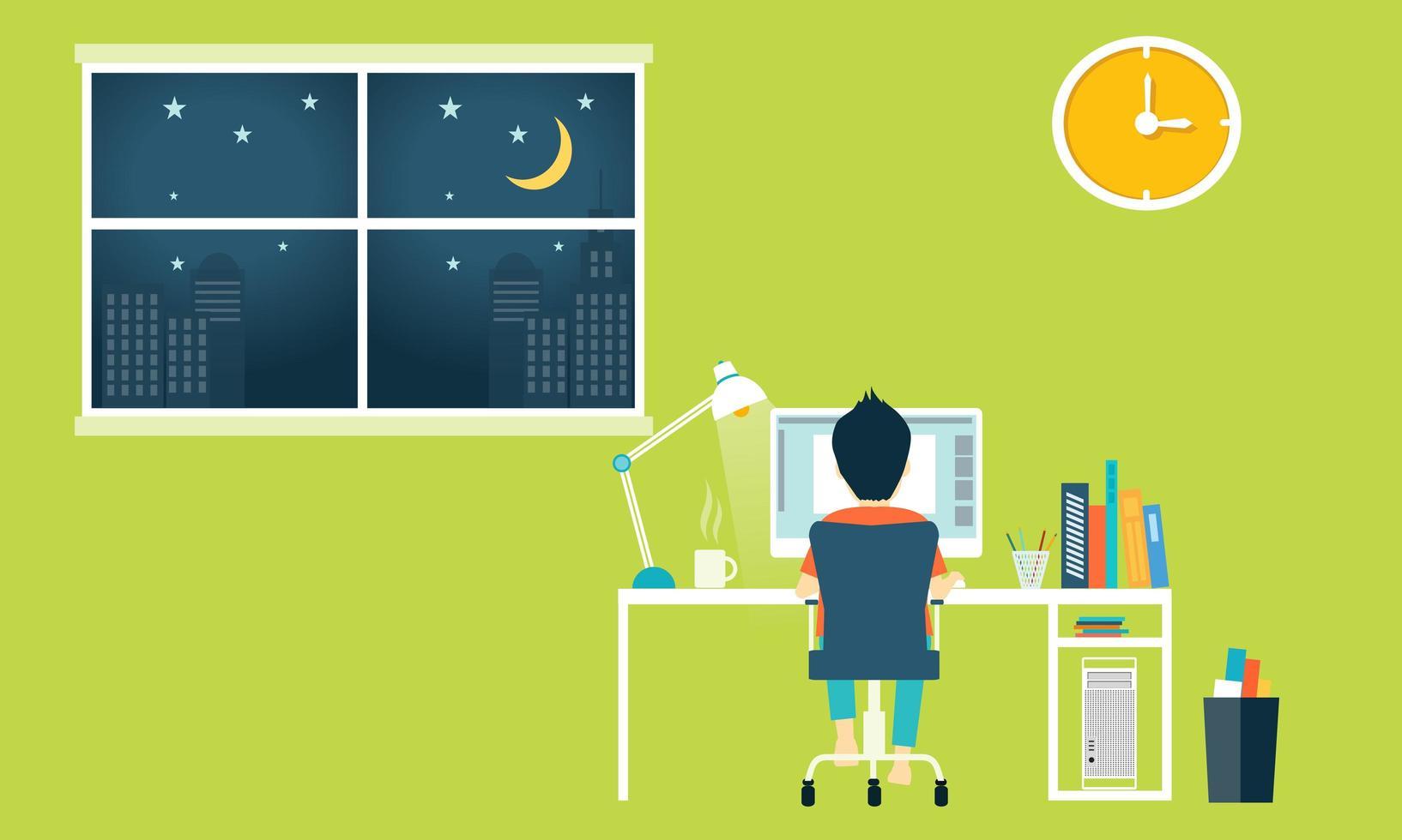 espace de travail dans le bureau à domicile vecteur