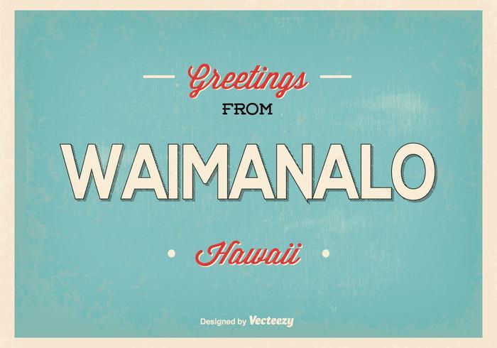 Waimanalo hawaii retro greeting illustration vecteur