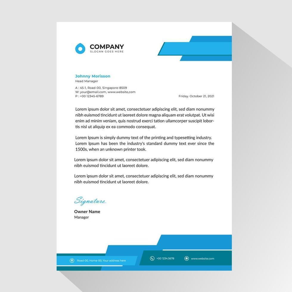 papier à en-tête d'affaires avec des formes bleues angulaires en couches vecteur
