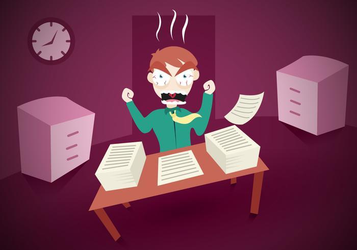 Vector de bureau de travail de burnout
