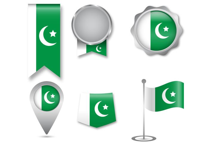 Ensemble d'icônes du drapeau pakistanais vecteur