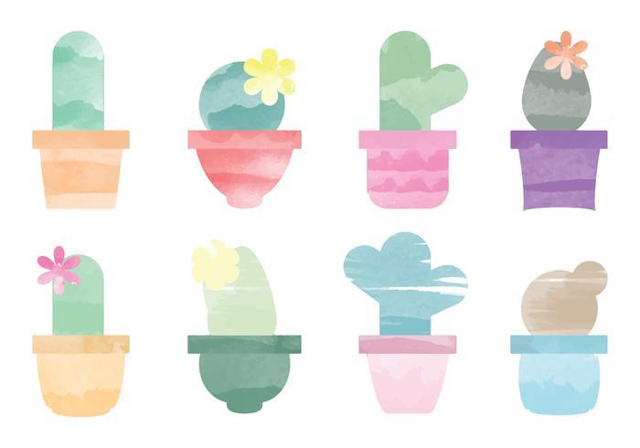 Éléments de cactus d'aquarelle vectorielle vecteur