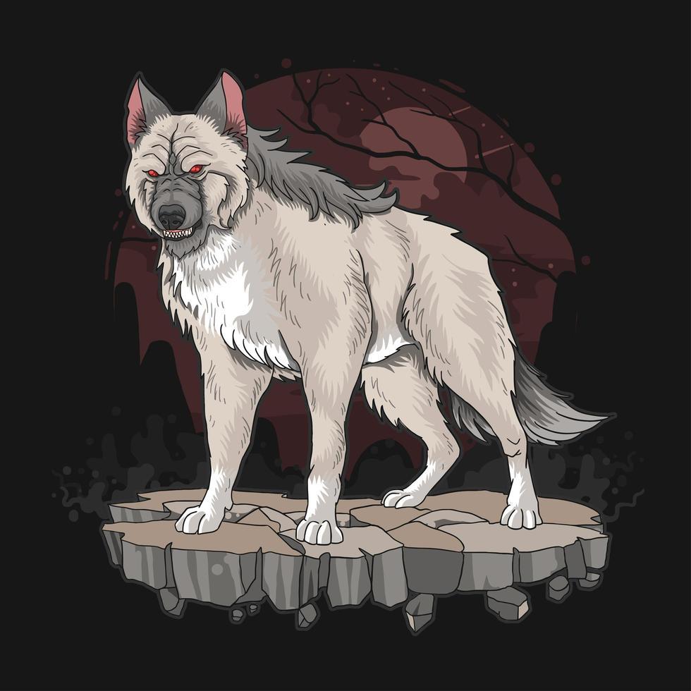 loup-garou en fond sombre vecteur