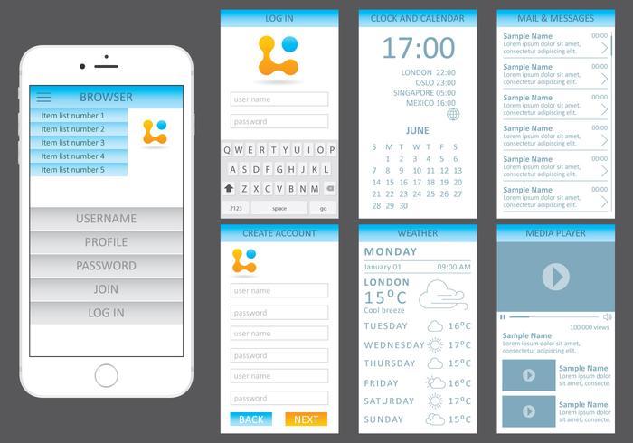 Blue Web Kit pour appareils mobiles vecteur