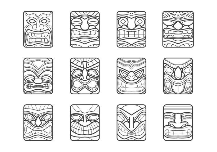 Pack de vecteur de masque de Hawaii Tiki