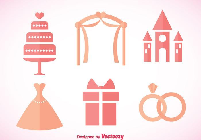 Mariage icônes roses vecteur