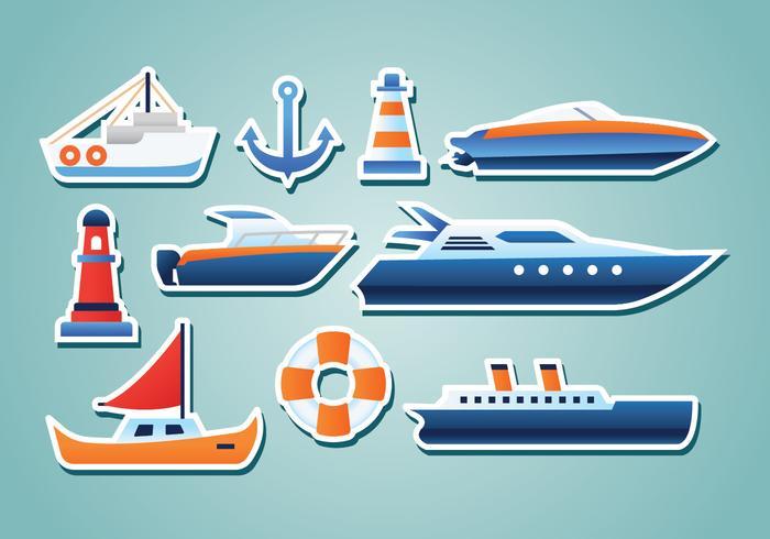 Autocollants nautiques gratuits vecteur