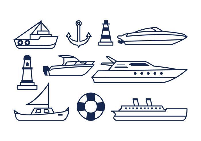 Icônes nautiques gratuites vecteur