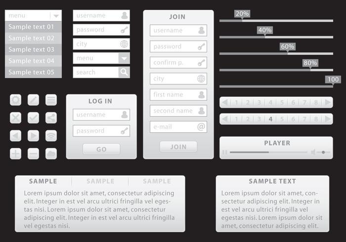 Kit Web Minimaliste Gris vecteur