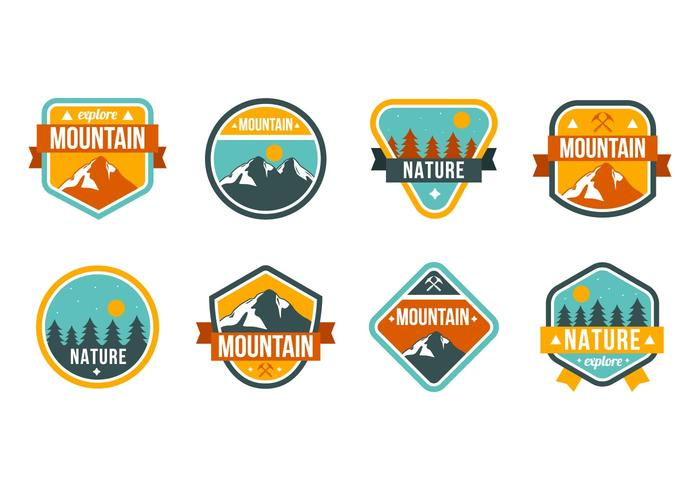 Vecteur de badges gratuit de montagne et de nature