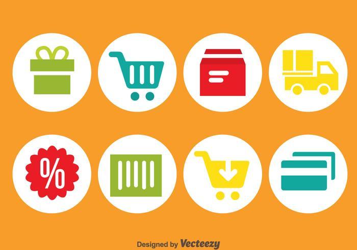 Icônes de cercle d'achat en ligne vecteur