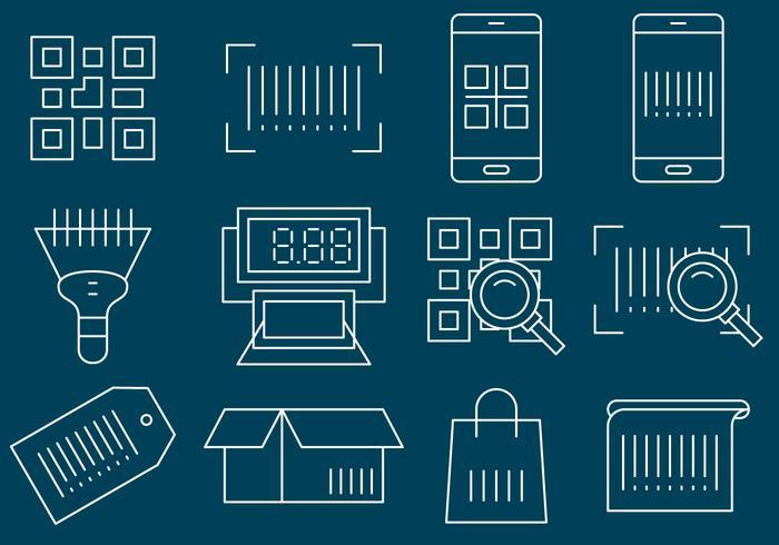 Icônes de ligne de codes à barres vecteur