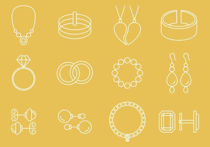 Icônes de bijoux vecteur