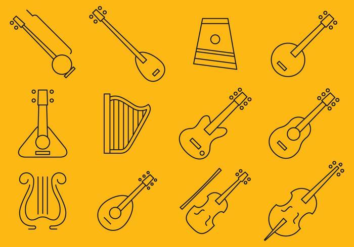 Icônes d'instruments à cordes vecteur