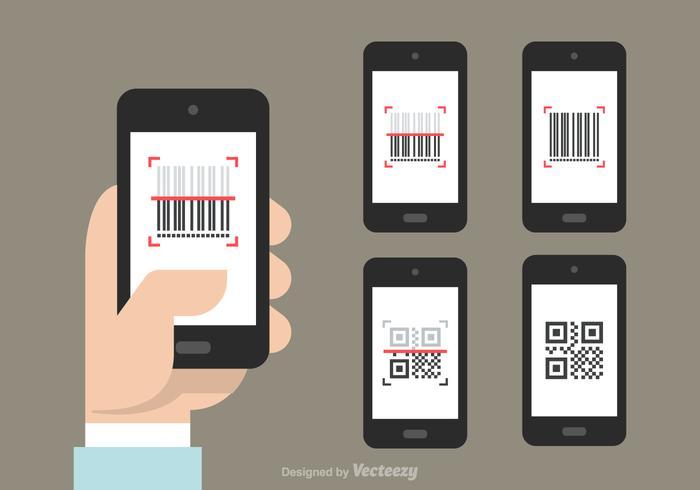 Icônes gratuites de vecteur de scanner de codes barres et de qr