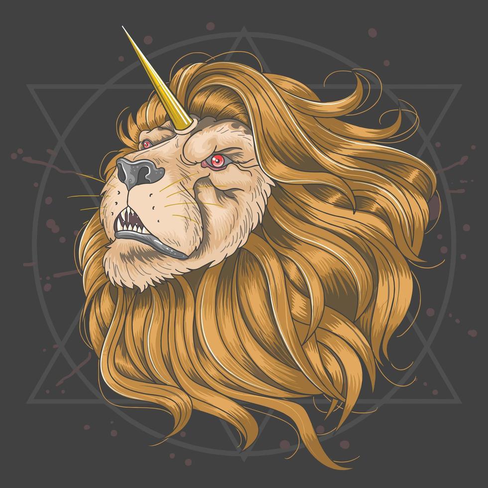 tête de lion avec corne de licorne or vecteur