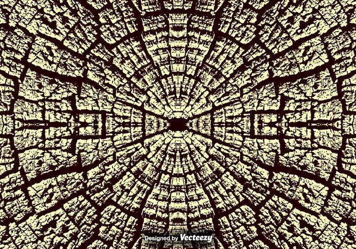 Texture de bois naturel fissuré / anneaux d'arbres Vector Background