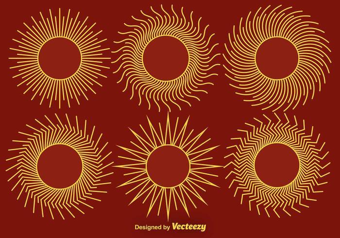 Ensemble de vecteur stylisé de style de ligne d'icônes de soleil