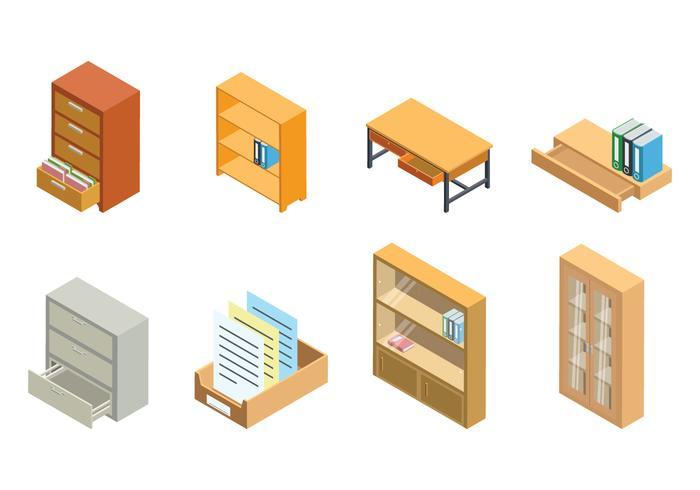 Armoire de fichiers isométrique gratuite et vecteur de stockage