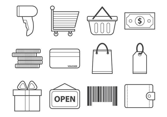 Vecteur icône de magasinage gratuit