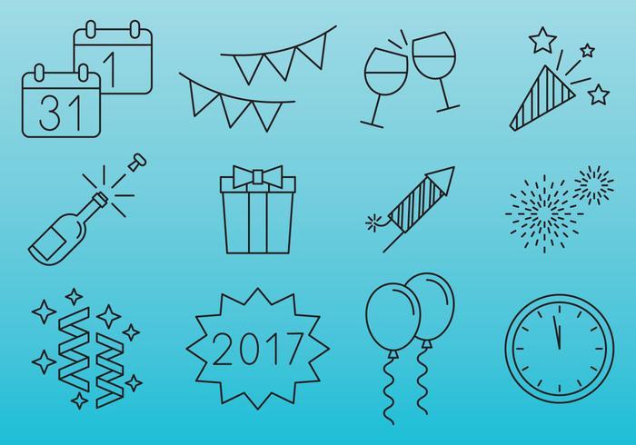 Icônes de célébration du Nouvel An vecteur