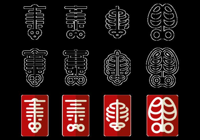 Icônes vectorielles Ribcage vecteur