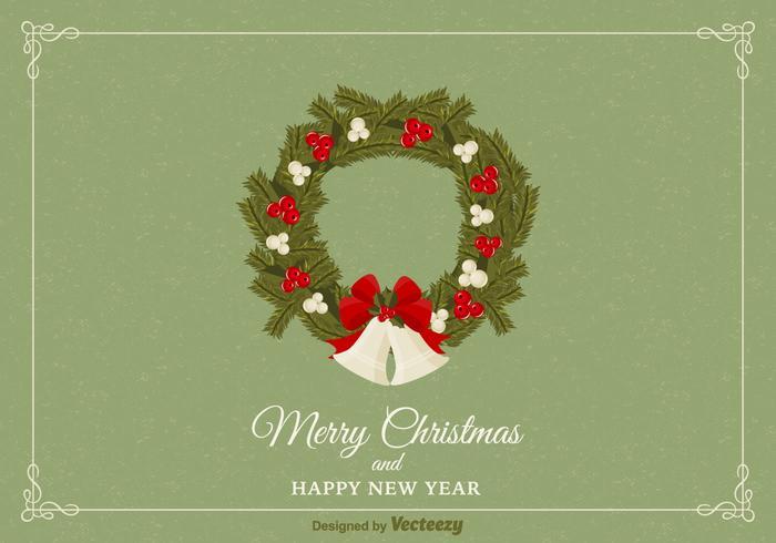 Carte Christmas Free Wreath Vector