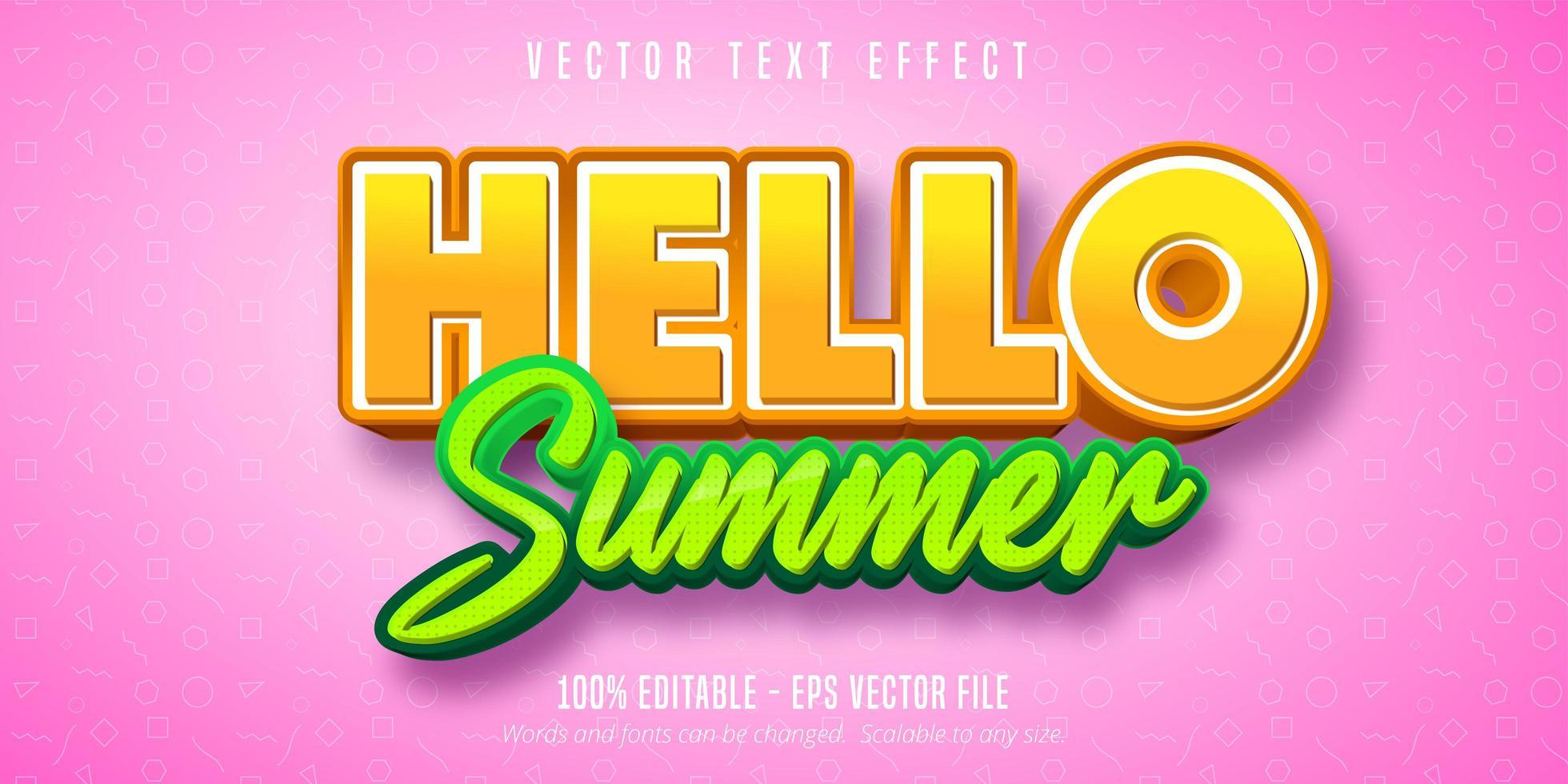 bonjour été orange et vert effet de texte modifiable vecteur