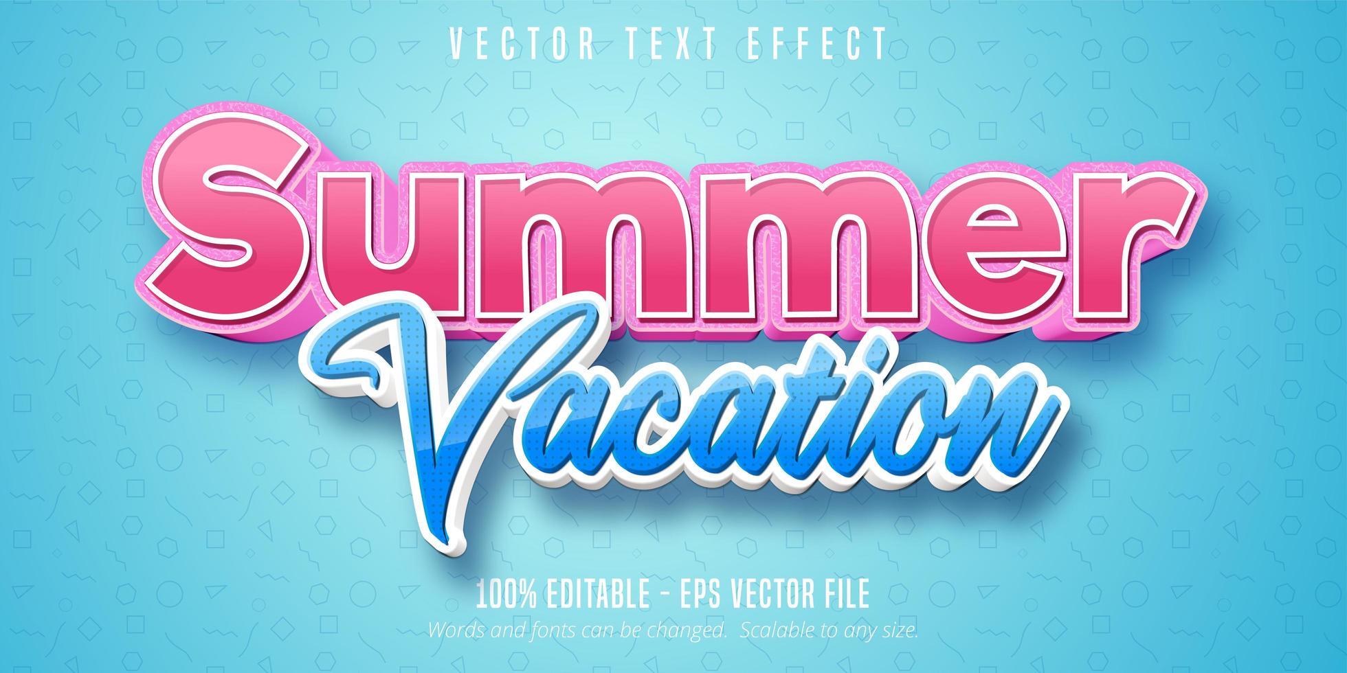 vacances d'été rose et bleu effet texte modifiable vecteur