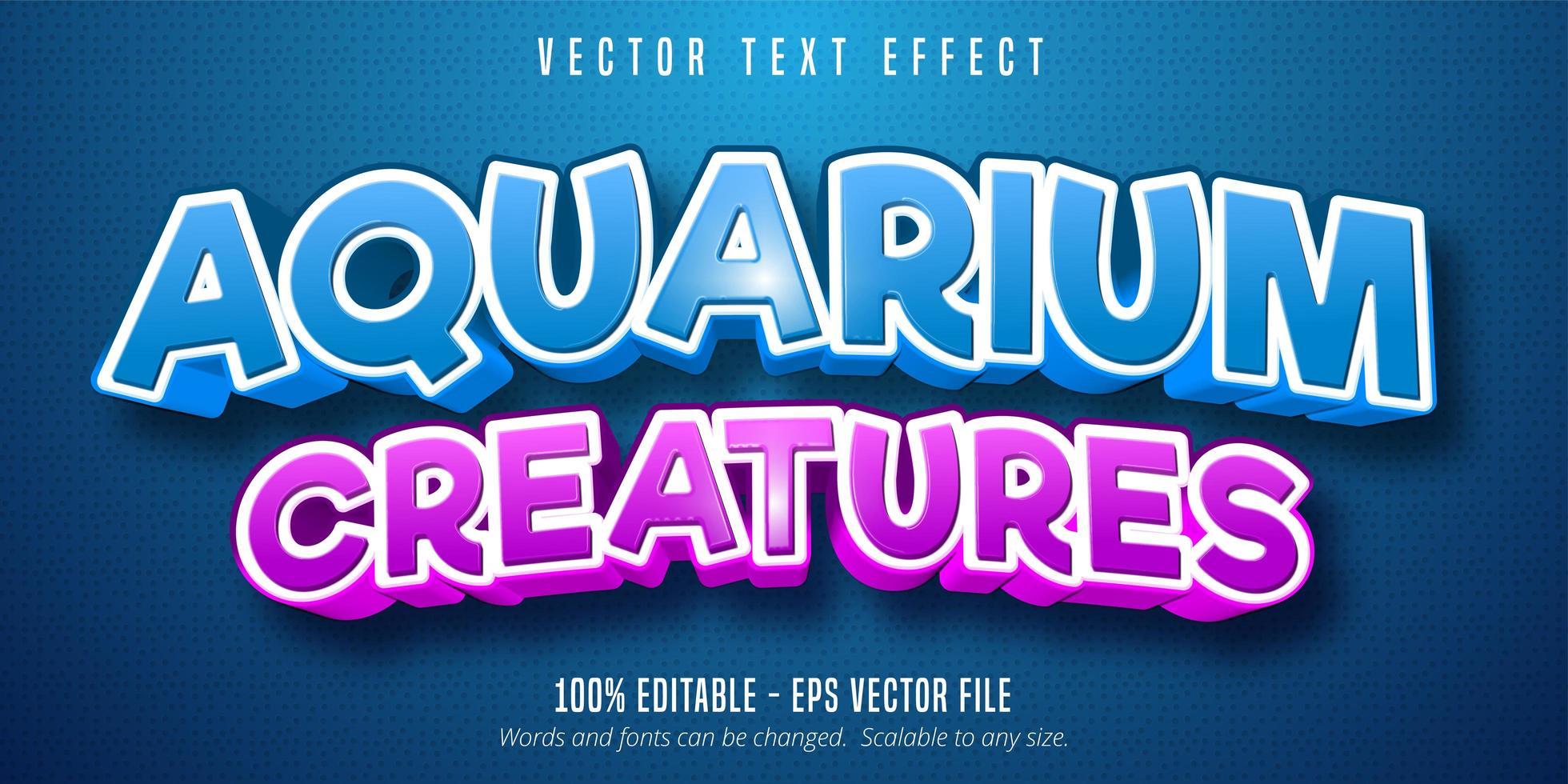 créatures d'aquarium effet de texte de style bande dessinée bleu et violet vecteur