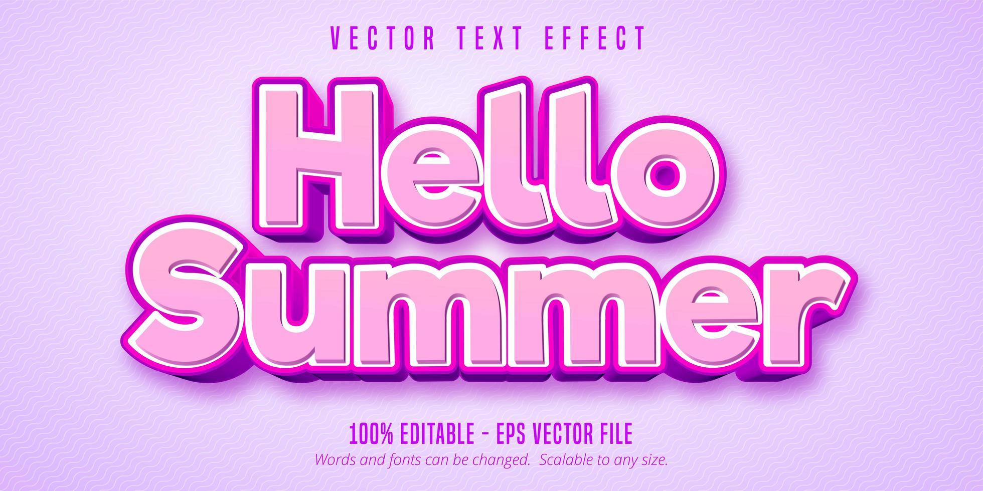 bonjour effet de texte modifiable rose été vecteur
