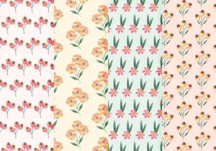 Carré de fleurs sauvages Patterns d'aquarelle vecteur