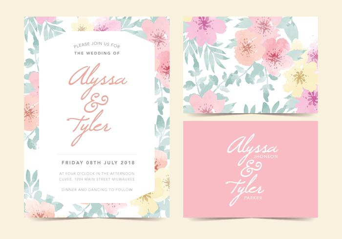 Invitation de mariage de vecteur floral