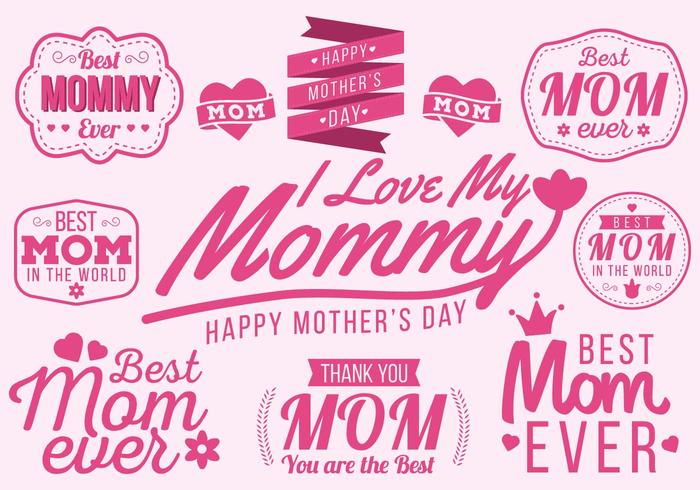 Free Happy Mother's Day Typography Vector