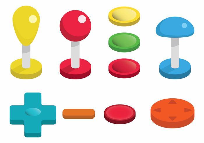 Ensemble de jeu de boutons d'arcade vecteur