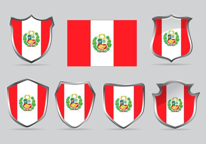 Vector Set Shield of Flag Pérou