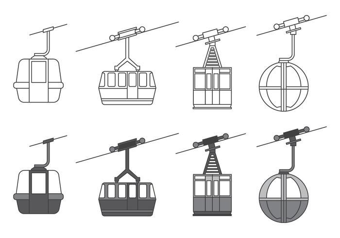 Icônes de téléphérique vecteur