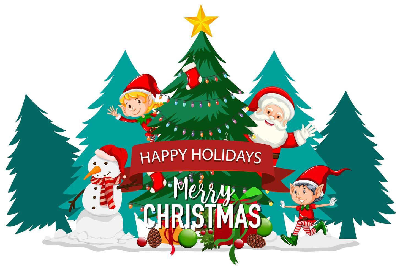 joyeuses fêtes avec le père Noël et l'elfe vecteur