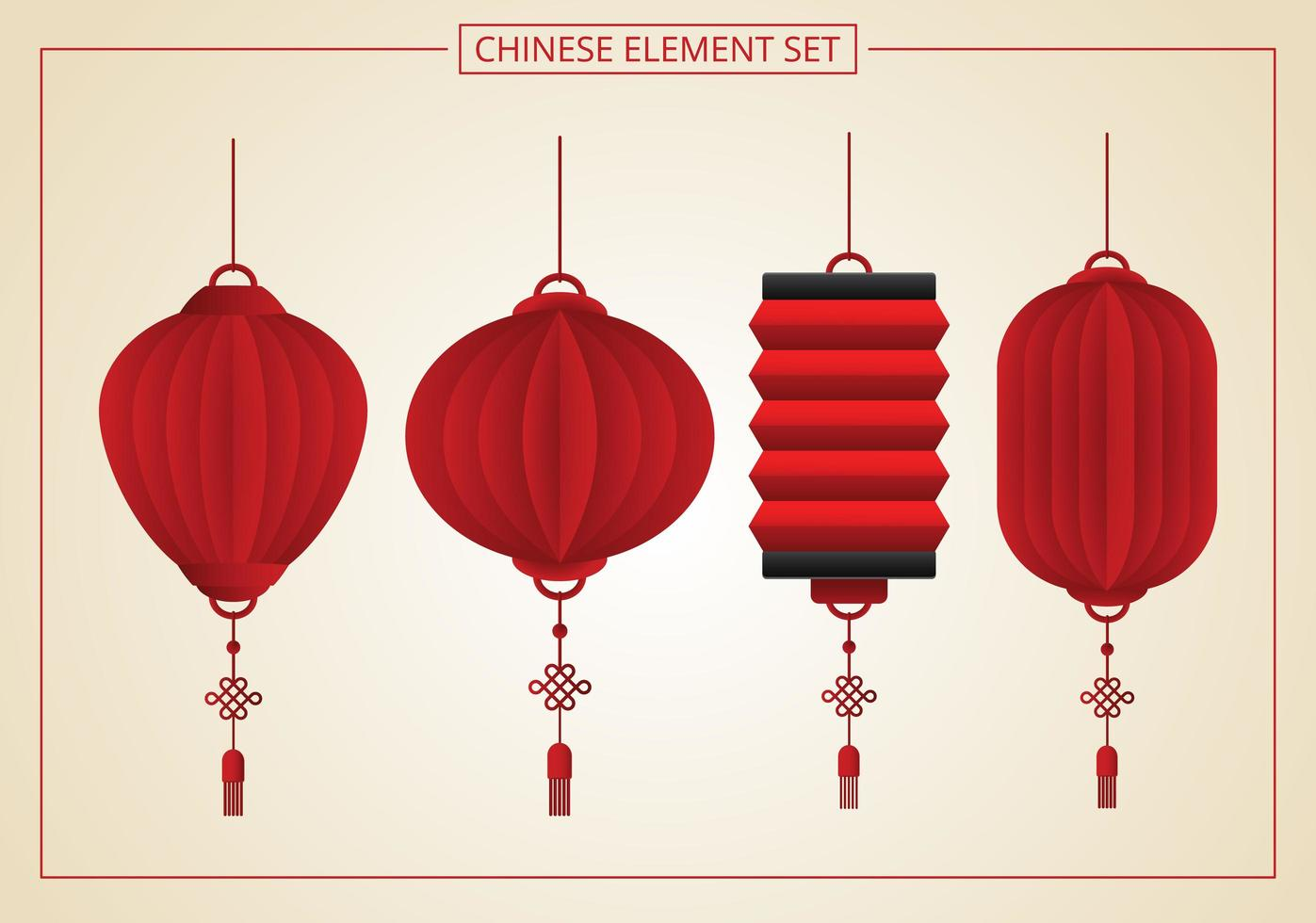 lot de 4 lanternes chinoises vecteur