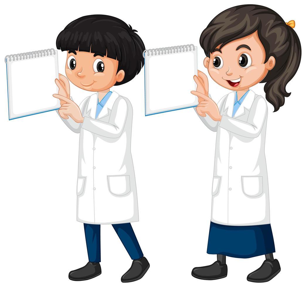 garçon et fille en robe de science vecteur